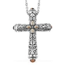 """Tigers Eye Ion Plated Yellow Gold Steel Cross Pendant With Chain 20 Cttw Size20"""""""