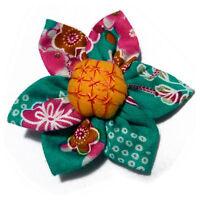 Broche FLEUR japonaise kanzashi jaune tissu motifs multicolores ROSE BLEU VERT