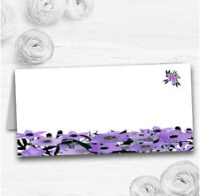 Black & Purple Watercolour Flowers Wedding Table Seating Name Place Cards