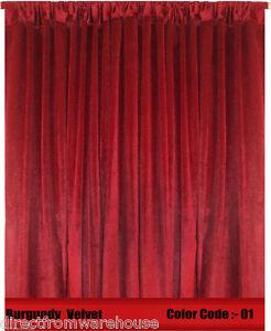 Saaria Velvet Curtain Panel Drape 8'W x 10'H Home Theater Curtain - Burgundy-01