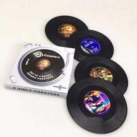 4 Vinyl Style Boxed Coasters Place Mats Bar Set Retro Vintage Record Discs