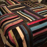 VIBRANT Vintage 1900's Striped Block Crazy Primitive Antique Quilt 74x72 Vintage