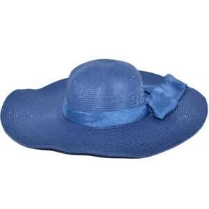 Cappello parasole di paglia blu mar donna elegante tesa larga da sole estate fle