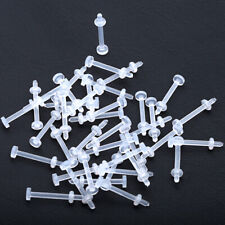 20Pcs 16G Bioflex White Retainer Hide Labret Lip Monroe Stud Flexible Piercing