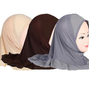 3Pcs Muslim Girls Amira HIjab Bonnet Kids Turban Wrap Head Shawl Hats Headwear