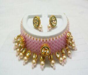 Pink Kundan Necklace Gold Plated Party Wear Onyx Beads Choker Bridesmaid Jewelry