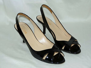 PRADA BLACK PATENT LEATHER SLINGBACK HEELS - SIZE 38 - STRAPPY SANDALS ITALY