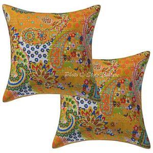 Indian Kantha Paisley Pillow Cushion Cover Bohemian Pillow Case Cover Pair Throw