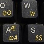 TURKISH Q TRANSPARENT KEYBOARD STICKERS YELLOW LETTERS