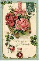 ROSES.  FLEURS  FLOWERS.  GAUFRé  EMBOSSED  FER à CHEVAL . CHANCE. LUCK