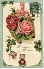 ROSES.  FLEURS  FLOWERS.  GAUFRé  EMBOSSED  FER à CHEVAL . CHANCE. LUCK