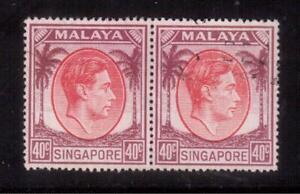 SINGAPORE 1951 USED PAIR #16a, KING GEORGE VI, Perf, 18 !!