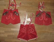 3x kurze Mädchen- Trachten- LEDERHOSE / Trachtenhose in rot ca. 98 / 104 + 110