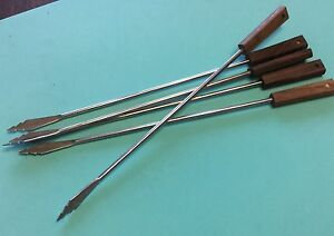 4 Fondue Spears Single Prong Tools Stainless Teak Wood Square Handles Japan