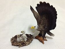 schleich birds RETIRED 14635 BABY EAGLES IN NEST + 14634 BALD EAGLE toy
