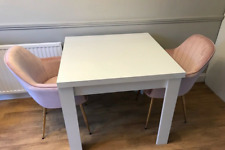 White Gloss extending Dining table with 2 Chairs