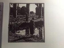 1920 S Gravure sur bois Imprimer par Gwendolen Raverat Le Duck Pond