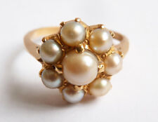 Bague Marguerite  en OR massif 22k + perles Bijou ancien gold ring