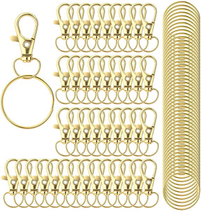 100Pcs Keychain Hooks With Key Rings, Metal Swivel Lobster Claw Clasps, For Keyc