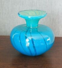 "Vintage Mdina Art Glass Blue Striped Ming Vase - 5"" Tall"
