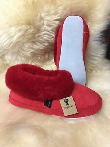 "Ladies Genuine Soft Sole Sheepskin Slippers Shepherd ""Very Warm"" Bright Red EMMY"