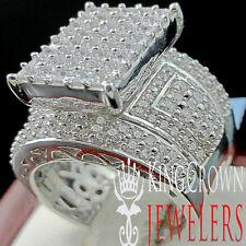 REAL 14K WHITE GOLD SILVER LAB DIAMOND BIG BOLD LADIES BRIDAL WEDDING RING BAND