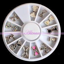 12pcs Alloy Crystal Gem Bowknot Bow Tie Nail Art Phone Decorating Gift Wheel