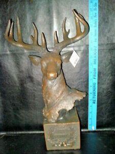 """17"""" Christmas brown resin  Deer Head  merry christmas wreath on display block"""