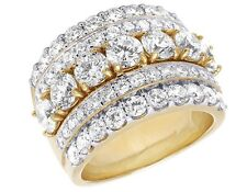 Mens Real 14k Yellow Gold Genuine Diamond Five Row Solitaire Ring 7 1/10 Ct 18mm