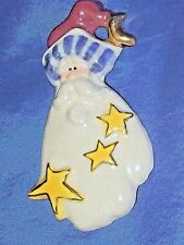 """Santa Claus Porcelain Golds Leaf Pin 3"""" Tall Makers Mark is a Paw Print 2002"""