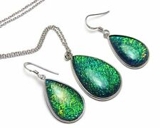 Triplet Fire Opal Pendant & Earring Set Solid Silver Opal Dublet Earring Pendant