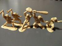 "5 Vintage 1964 Marx ? Prehistoric Times Plastic Toy Cave Man Cavemen Fighting 2"""