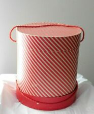 Vintage Hat Wig Box Tall Red Stripe