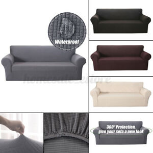1/2/3/4 Seats Waterproof Elastic Stretch Sofa Cover Waffle Fabric Solid Color U