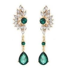 Vintage Party Chandelier Earrings Green Crystal Pearl Big Womens Jewelry