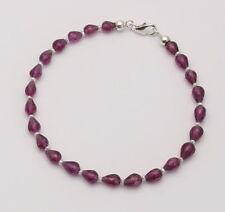 Granat-Armband Rhodolith Granat facettiert mit Perle Armband für Damen 19,5 cm