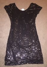 Dotti Black Sequin  Party Cocktail Dress Size 12 New With Tags