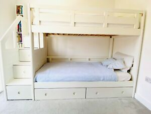 Luxury Children Solid Wood White Bunk Bed With Staircase Storage And Drawers