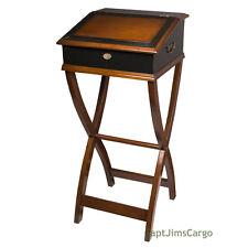 "Campaign Desktop Speaker's Lectern Portable Desk 46.5"" Ebony & Dark Honey New"