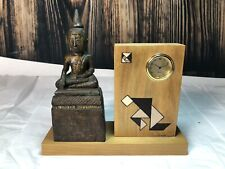Feng Shui Hand Crafted Signed Thai Earth Touching Meditating Buddha Clock Statue