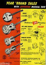 1956 PAPER AD 2 Sided JeffersonToy Banjo Guitar Lone Ranger Uke Ukulele Violin