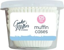 125 x Large 7cm Muffin Cases Classic White Baking Cupcakes Grease Proof Cake