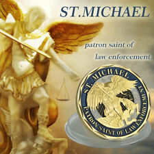 WR St Michael Protect Us Police Officer Gold Color Challenge Coin Collect Gifts