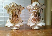 Two Vintage Stouffer Fine China SFR3 Vases Golden Orchid Artist Signed R. Swartz