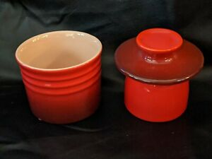 Le Creuset Stoneware Butter Bell Crock Volcanic Orange Ceramic 4 Inches NEW