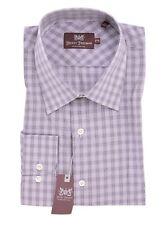 $245 Hickey Freeman Purple Plaid Cotton Dress Shirt 15 36/37 MOP Buttons