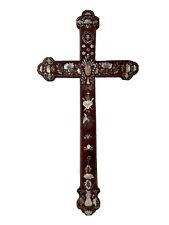 Croix Crucifix Bois et Nacre Instruments Passion Vietnam Tonkin Antique Cross