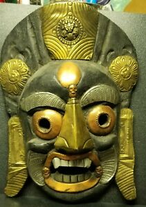 Vintage Old Wooden Tribal Devil Mask Metal Handcrafted CEREMONIAL Collectible