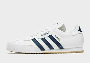 Adidas Samba Super Men's White Leather Trainers Shoes Size 7 Uk Eu 40.5