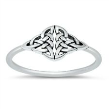 925 Sterling Silver Ornate Celtic Triquetra Knot Band Ring Size 4 to 10 NEW
